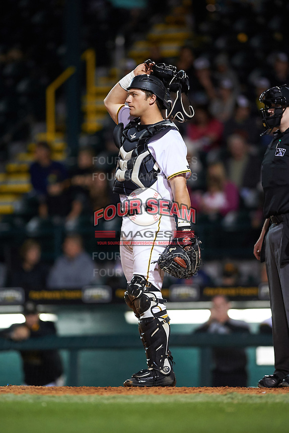 Bradenton Marauders catcher Taylor Gushue (17) during a game against the Fort Myers Miracle on April 9, 2016 at McKechnie Field in Bradenton, Florida.  Fort Myers defeated Bradenton 5-1.  (Mike Janes/Four Seam Images)