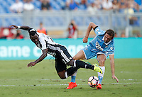 Calcio, Serie A: Lazio vs Juventus. Roma, stadio Olimpico, 27 agosto 2016.<br /> Juventus&rsquo; Kwadwo Asamoah, left, is fouled by Lazio&rsquo;s Senad Lulic during the Serie A soccer match between Lazio and Juventus, at Rome's Olympic stadium, 27 August 2016. Juventus won 1-0.<br /> UPDATE IMAGES PRESS/Isabella Bonotto