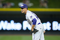 Winston-Salem Dash relief pitcher Yelmison Peralta (28) looks to his catcher for the sign against the Myrtle Beach Pelicans at BB&T Ballpark on May 11, 2017 in Winston-Salem, North Carolina.  The Pelicans defeated the Dash 9-7.  (Brian Westerholt/Four Seam Images)