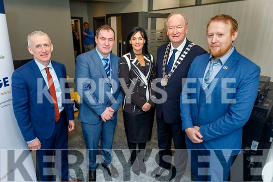 Attending the official opening of the new admissions office for Kerry Colleges in Denny Street on Tuesday. L to r: Colm McEvoy (CEO Kerry ETB), Stephen Golden (Acting Director of Further Education), Mary Lucey (Principal of Kerry College of Clash and Denny Street Campus), Cllr Jim Finucane (Mayor of Tralee) and Con O' Sullivan (Manager of Kerry College Monavalley Campus).