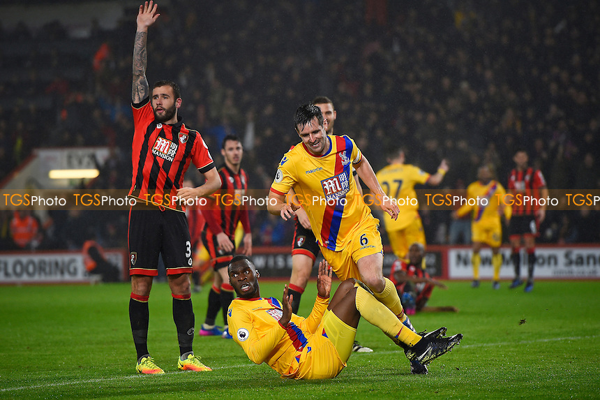 Scott Dann (6) scores and celebrates as Steve Cook of AFC Bournemouth appeals for offside during AFC Bournemouth vs Crystal Palace, Premier League Football at the Vitality Stadium on 31st January 2017