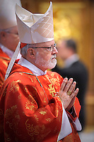 US cardinal Sean patrick O'Malley.Dean of the College of Cardinals Angelo Sodano leads a  during a Mass for the election of a new pope, at the St Peter's basilica on March 12, 2013 at the Vatican. The 115 cardinal electors who pick the next leader of 1.2 billion Catholics in a conclave in the Sistine Chapel will live inside the Vatican walls completely cut off from the outside world until they have made their choice..