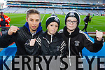 David Fitzgerald, Kiernan O'Sullivan and Dylan O'Sullivan Ardfert supporters at the Intermediate All Ireland Club Final in Croke Park on Saturday.