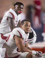 NWA Democrat-Gazette/BEN GOFF @NWABENGOFF<br /> Cheyenne O'Grady, Arkansas tight end, watches from the bench in the fourth quarter vs Ole Miss Saturday, Sept. 7, 2019, at Vaught-Hemingway Stadium in Oxford, Miss.