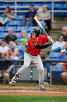 Erie SeaWolves third baseman Josh Lester (44) at bat during a game against the Binghamton Rumble Ponies on May 14, 2018 at NYSEG Stadium in Binghamton, New York.  Binghamton defeated Erie 6-5.  (Mike Janes/Four Seam Images)