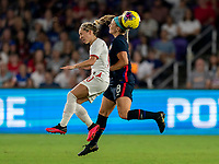 ORLANDO, FL - MARCH 05: Jordan Nobbs #10 of England goes up for a header with Julie Ertz #8 of the United States during a game between England and USWNT at Exploria Stadium on March 05, 2020 in Orlando, Florida.