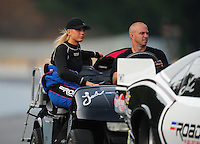 Jun. 18, 2011; Bristol, TN, USA: NHRA pro mod driver Leah Pruett-LeDuc during qualifying for the Thunder Valley Nationals at Bristol Dragway. Mandatory Credit: Mark J. Rebilas-