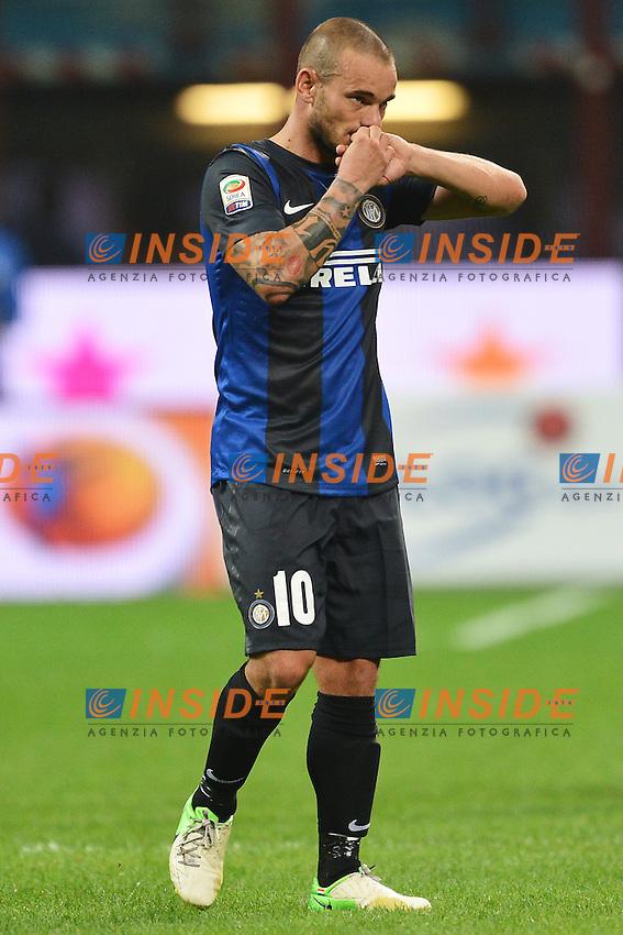 """delusione Wesley Sneijder Inter.Milano 02/9/2012 Stadio """"Giuseppe Meazza San Siro"""".Football Calcio 2012/2013 Serie A.Inter Vs Roma.Foto Andrea Staccioli Insidefoto"""
