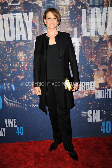 WWW.ACEPIXS.COM<br /> February 15, 2015 New York City<br /> <br /> Sigourney Weaver walking the red carpet at the SNL 40th Anniversary Special at 30 Rockefeller Plaza on February 15, 2015 in New York City.<br /> <br /> Please byline: Kristin Callahan/AcePictures<br /> <br /> ACEPIXS.COM<br /> <br /> Tel: (646) 769 0430<br /> e-mail: info@acepixs.com<br /> web: http://www.acepixs.com