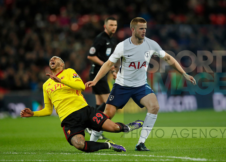 Eric Dier of Tottenham late on Etiene Capoue of Watford during the premier league match at Wembley Stadium, London. Picture date 30th April 2018. Picture credit should read: David Klein/Sportimage