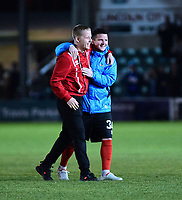 Lincoln City's Terry Hawkridge celebrates with Billy Knott<br /> <br /> Photographer Andrew Vaughan/CameraSport<br /> <br /> Vanarama National League - Lincoln City v Chester - Tuesday 11th April 2017 - Sincil Bank - Lincoln<br /> <br /> World Copyright &copy; 2017 CameraSport. All rights reserved. 43 Linden Ave. Countesthorpe. Leicester. England. LE8 5PG - Tel: +44 (0) 116 277 4147 - admin@camerasport.com - www.camerasport.com