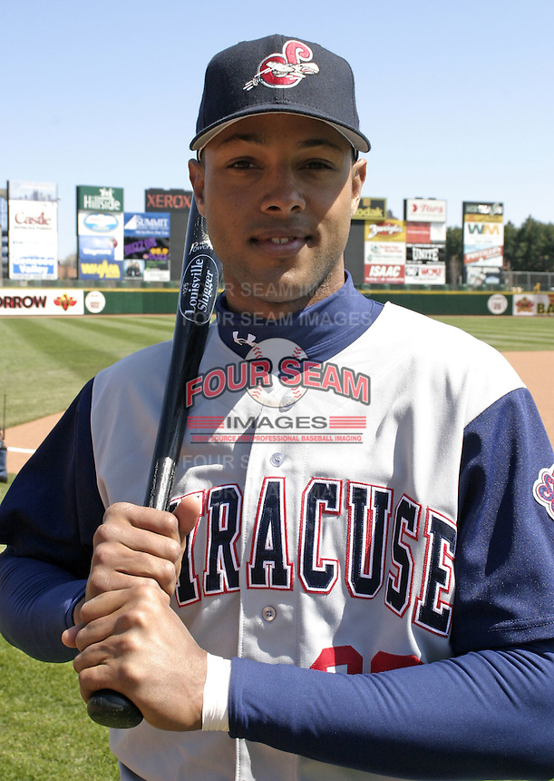 April 11, 2004:  /of/ Alex Rios (28) of the Syracuse Sky Chiefs, Class-AAA International League affiliate of the Toronto Blue Jays, during a game at Frontier Field in Rochester, NY.  Photo by:  Mike Janes/Four Seam Images