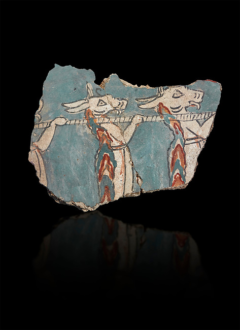 Mycenaean fresco wall painting of hunting demons, Mycenae Acropolis, Greece Cat No 2665. National Archaeological Museum, Athens. Black Background<br /> <br /> The Mycenaean fresco fragment depicts three animal demons with donkey heads holding a wooden pole over their shoulders from which hangs the prey thay have been hunting. This type of demon originated in Egypt.