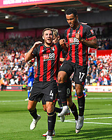 Joshua King of AFC Bournemouth right celebrates his goal with Dan Gosling of AFC Bournemouth during AFC Bournemouth vs Leicester City, Premier League Football at the Vitality Stadium on 15th September 2018