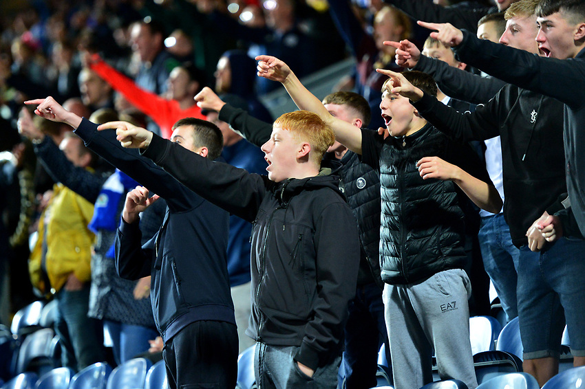 Blackburn Rovers fans show their support<br /> <br /> Photographer Richard Martin-Roberts/CameraSport<br /> <br /> The Carabao Cup First Round - Tuesday 13th August 2019 - Blackburn Rovers v Oldham Athletic - Ewood Park - Blackburn<br />  <br /> World Copyright © 2019 CameraSport. All rights reserved. 43 Linden Ave. Countesthorpe. Leicester. England. LE8 5PG - Tel: +44 (0) 116 277 4147 - admin@camerasport.com - www.camerasport.com