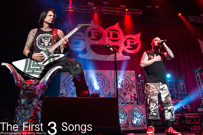 Jason Hook and Ivan Moody of Five Finger Death Punch perform during the 2013 Mayhem Festival at Klipsch Music Center in Indianapolis, Indiana.