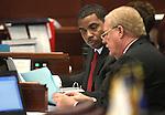 Nevada Senate Majority Leader Steven Horsford, D-North Las Vegas, left, talks with Sen. Mike Schneider, D-Las Vegas, on the Senate floor Wednesday, May 25, 2011, at the Legislature in Carson City, Nev. .Photo by Cathleen Allison