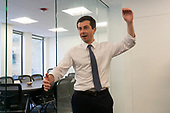 Mayor Pete Buttigieg meets with leaders of the Jewish community at a communal parlor meeting at the offices of Bluelight Strategies in Washington D.C., U.S. on May 23, 2019.<br /> <br /> Credit: Stefani Reynolds / CNP