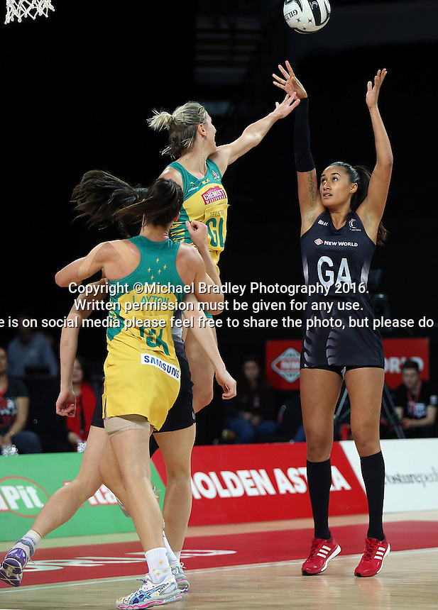 15.10.2016 Silver Ferns Maria Tutaia in action during the Silver Ferns v Australia netball test match played at Vector Arena in Auckland. Mandatory Photo Credit ©Michael Bradley.