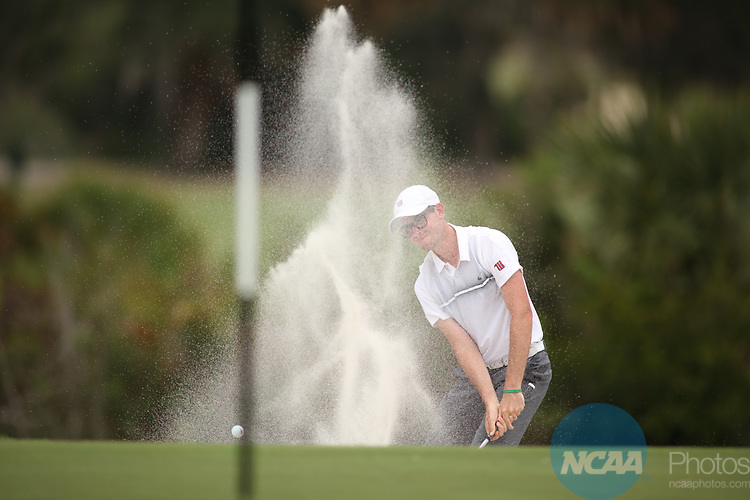HOWEY IN THE HILLS, FL - MAY 19: Colin Laszlo of Wittenberg University blasts from a bunker during the Division III Men's Golf Championship held at the Mission Inn Resort and Club on May 19, 2017 in Howey In The Hills, Florida. (Photo by Cy Cyr/NCAA Photos via Getty Images)