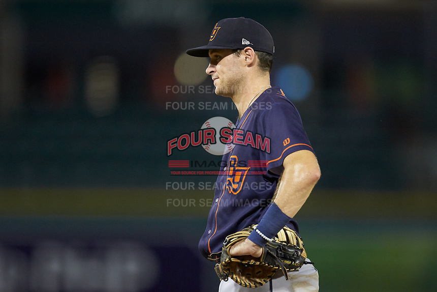 Bowling Green Hot Rods first baseman Seaver Whalen (2) on defense against the Fort Wayne TinCaps at Parkview Field on August 20, 2019 in Fort Wayne, Indiana. The Hot Rods defeated the TinCaps 6-5. (Brian Westerholt/Four Seam Images)