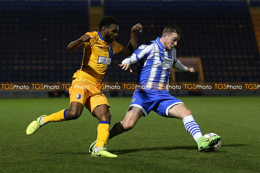 Hayden White of Mansfield Town and Ben Dickenson of Colchester United during Colchester United vs Mansfield Town, Sky Bet EFL League 2 Football at the Weston Homes Community Stadium on 14th March 2017