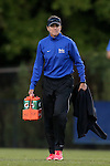 04 October 2014: Duke assistant coach Carla Overbeck. The Duke University Blue Devils hosted the University of Louisville Cardinals at Koskinen Stadium in Durham, North Carolina in a 2014 NCAA Division I Women's Soccer match. The game ended in a 0-0 tie after double overtime.