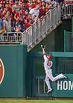 7 October 2016: Washington Nationals outfielder Jayson Werth is unable to catch a two-run homer to left field by Los Angeles Dodgers third baseman Justin Turner in the 3rd inning of the NLDS Game 1 at Nationals Park in Washington, DC. The Dodgers edged out the Nationals 4-3 to take the opening game of their best-of-five series. Mandatory Credit: Ed Wolfstein Photo *** RAW (NEF) Image File Available ***