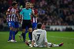 Atletico de Madrid's Stefan Savic Real Madrid's Cristiano Ronaldo  during the match of La Liga between Atletico de Madrid and Real Madrid at Vicente Calderon Stadium  in Madrid , Spain. November 19, 2016. (ALTERPHOTOS/Rodrigo Jimenez)