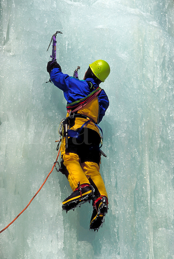 Ice climber in the Catskills of NY. To move upward two ice picks are planted overhead and the climber pulls upward with his arms while kicking the horizontal front points of his crampons into the ice. Catskill Mountains NY USA