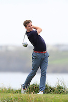 Richard Knightly (The Royal Dublin) on the 12th tee during the Quarter Finals of The South of Ireland in Lahinch Golf Club on Tuesday 29th July 2014.<br /> Picture:  Thos Caffrey / www.golffile.ie