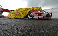 Sept. 1, 2012; Claremont, IN, USA: NHRA pro stock driver Larry Hanson during qualifying for the US Nationals at Lucas Oil Raceway. Mandatory Credit: Mark J. Rebilas-