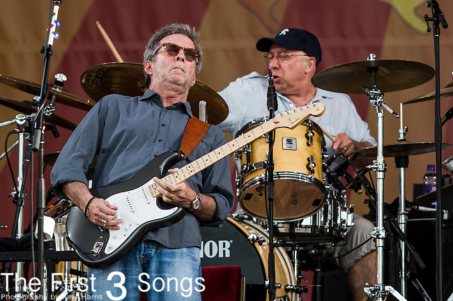 Eric Clapton performs during the New Orleans Jazz & Heritage Festival in New Orleans, LA.