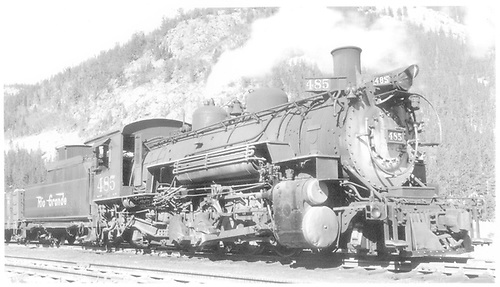 3/4 engineer side view of K-36 #485 at Monarch, CO.<br /> D&amp;RGW  Monarch, CO  Taken by Bender, Henry E. Jr. - 8/15/1952