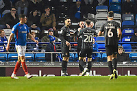Michael Harriman of Northampton Town middle is congratulated on scoring the first goalo during Portsmouth vs Northampton Town, Leasing.com Trophy Football at Fratton Park on 3rd December 2019