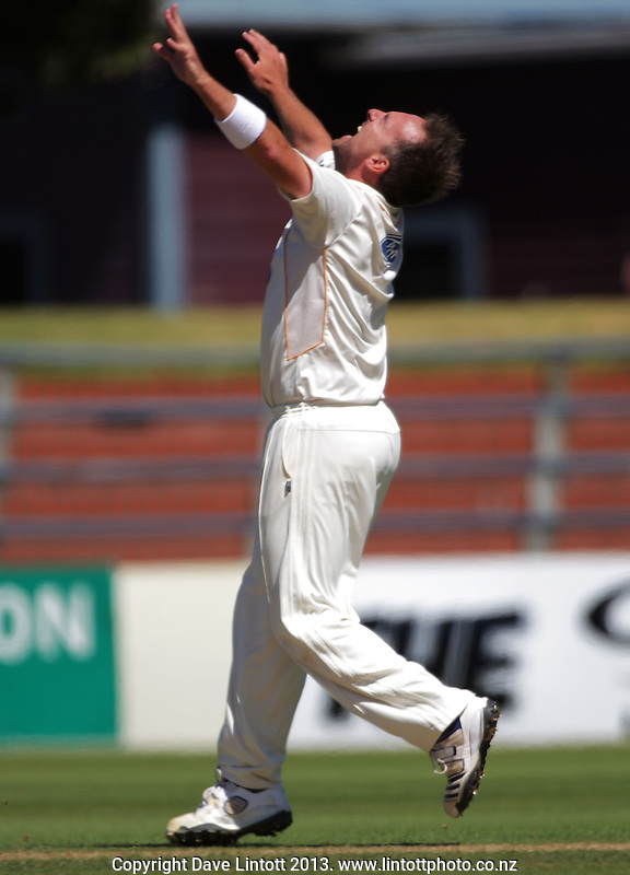 Mark Gillespie celebrates dismissing Derek de Boorder during day four of the Plunket Shield cricket match between Wellington Firebirds and Otago Volts at Hawkins Basin Reserve, Wellington, New Zealand on Saturday, 23 February 2013. Photo: Dave Lintott / lintottphoto.co.nz