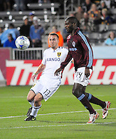 25 October 08: Rapids forward Omar Cummings (14) looks to get a shot past Real Salt Lake defender Ian Joy (13). Real Salt Lake tied the Colorado Rapids at Dick's Sporting Goods Park in Commerce City, Colorado. The tie advanced Real Salt Lake to the playoffs.