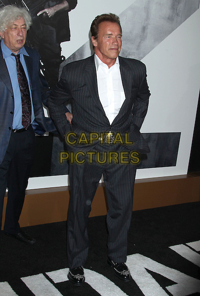 Avi Lerner & Arnold Schwarzenegger.'The Expendables 2' premiere held at The Grauman's Chinese Theatre, Hollywood, California, USA..15th August 2012.full length blue white shirt grey gray pinstripe .CAP/ADM/RE.©Russ Elliot/AdMedia/Capital Pictures.