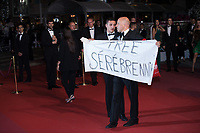 CANNES, FRANCE - May 09 2018: A guest with with a sign Free Serebrennikov attends the screening of 'Leto' during the 71st annual Cannes Film Festival at Palais des Festivals on May 9, 2018 in Cannes, France.<br /> Picture: Kristina Afanasyeva/Featureflash/SilverHub 0208 004 5359 sales@silverhubmedia.com