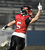 Luke Lombardi #5 of Plainedge reacts after rushing for a 45-yard touchdown in the first quarter of the Nassau County football Conference III semifinals against Lynbrook at Shuart Stadium in Hempstead on Saturday, Nov. 10, 2018.