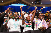 Attendees cheer as United States President Barack Obama arrives at a Young African Leaders Initiative (YALI) town hall in Washington, DC. August 3, 2016.  <br /> Credit: Chris Kleponis / Pool via CNP