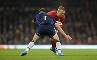 Wales' Hadleigh Parkes is tackled by Scotland's Hamish Watson<br /> <br /> Photographer Ian Cook/CameraSport<br /> <br /> Under Armour Series Autumn Internationals - Wales v Scotland - Saturday 3rd November 2018 - Principality Stadium - Cardiff<br /> <br /> World Copyright © 2018 CameraSport. All rights reserved. 43 Linden Ave. Countesthorpe. Leicester. England. LE8 5PG - Tel: +44 (0) 116 277 4147 - admin@camerasport.com - www.camerasport.com