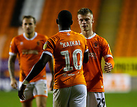 Blackpool's Sullay Kaikai celebrates scoring his side's fourth goal with Calum MacDonald<br /> <br /> Photographer Alex Dodd/CameraSport<br /> <br /> EFL Leasing.com Trophy - Northern Section - Group G - Blackpool v Morecambe - Tuesday 3rd September 2019 - Bloomfield Road - Blackpool<br />  <br /> World Copyright © 2018 CameraSport. All rights reserved. 43 Linden Ave. Countesthorpe. Leicester. England. LE8 5PG - Tel: +44 (0) 116 277 4147 - admin@camerasport.com - www.camerasport.com