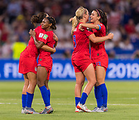 LYON,  - JULY 2: Carli Lloyd #10 celebrates with Crystal Dunn #19 during a game between England and USWNT at Stade de Lyon on July 2, 2019 in Lyon, France.