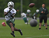 Brisly Estime #3, New York Jets wide receiver, makes a catch during the first day of offseason training activity at the Atlantic Health Jets Training Center in Florham Park, NJ on Tuesday, May 23, 2017.