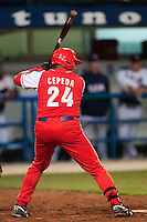 24 September 2009: Frederich Cepeda of Cuba is seen at bat during the 2009 Baseball World Cup final round match won 5-3 by Team USA over Cuba, in Nettuno, Italy.