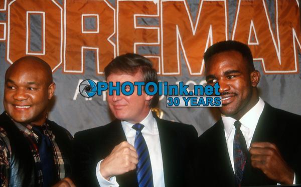 George Foreman, Donald Trump, Evander Holyfield, 1990, Photo By John Barrett/PHOTOlink