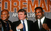 George Foreman, Donald Trump, Evander Holyfield, 1990, Photo By John Barrett/PHOTOlink