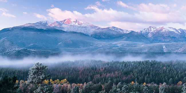 October sunrise light the high peaks, seen from Deer Mtn in Rocky Mountain National Park, Colorado, USA