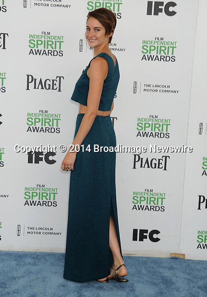 Pictured: Shailene Woodley<br /> Mandatory Credit &copy; Gilbert Flores/Broadimage<br /> 2014 Independent Spirit Awards<br /> <br /> 3/1/14, Santa Monica, California, United States of America<br /> <br /> Broadimage Newswire<br /> Los Angeles 1+  (310) 301-1027<br /> New York      1+  (646) 827-9134<br /> sales@broadimage.com<br /> http://www.broadimage.com